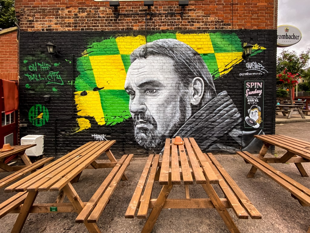 mural of Daniel Farke, head coach of Norwich City Football Club by Dave Nash at the Fat Cat and Canary Pub