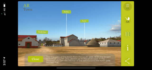 screen shot of caistor roman town in augmented reality