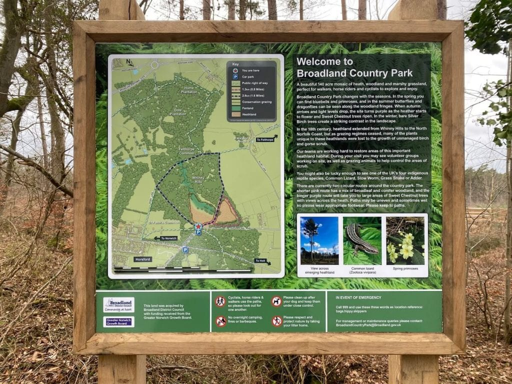 information board at Broadland Country Park