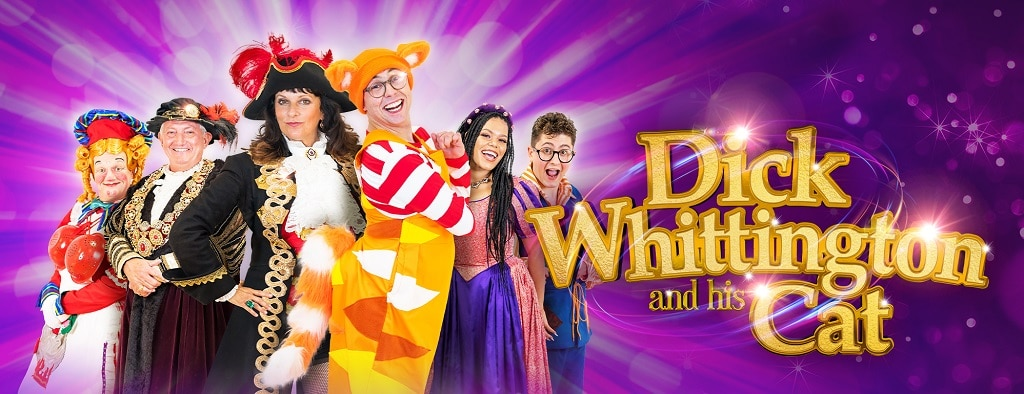 promotional graphic for Dick Whittington and his Cat Panto at the Theatre Royal in Norwichck W