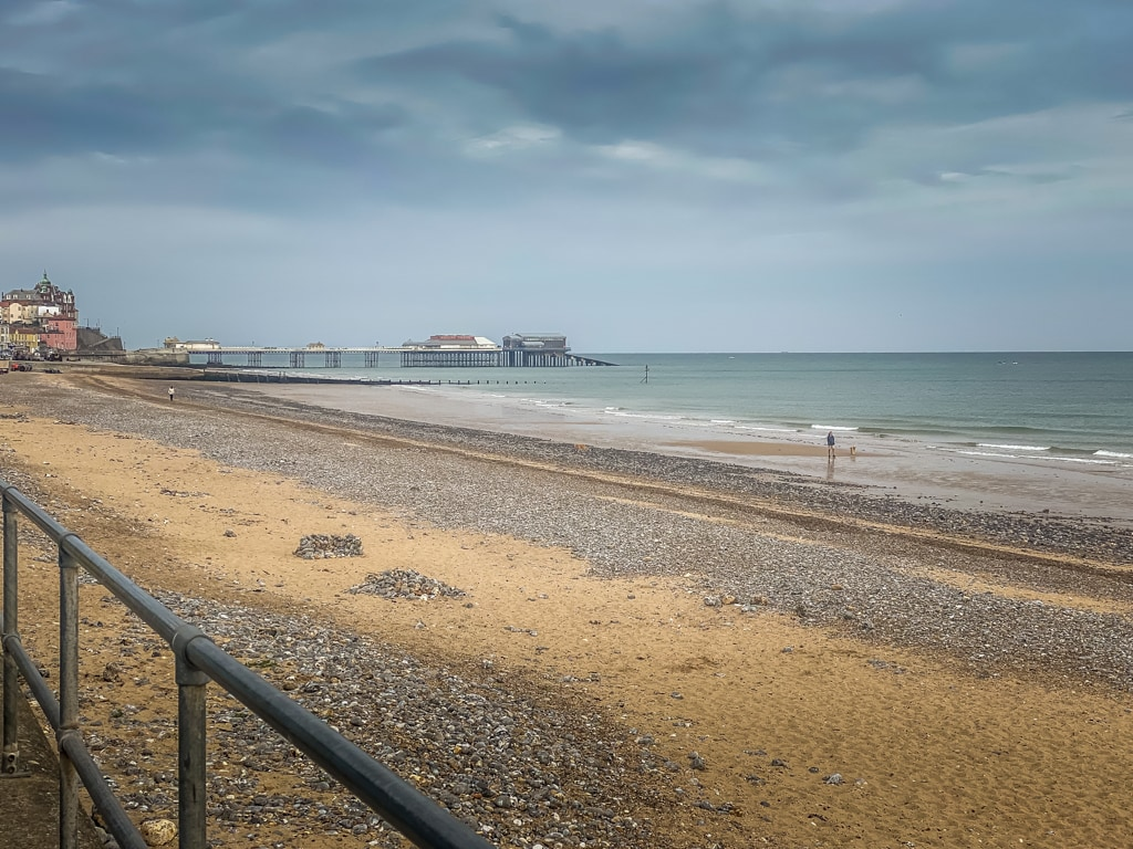 cromer beach with the pier in the distance
