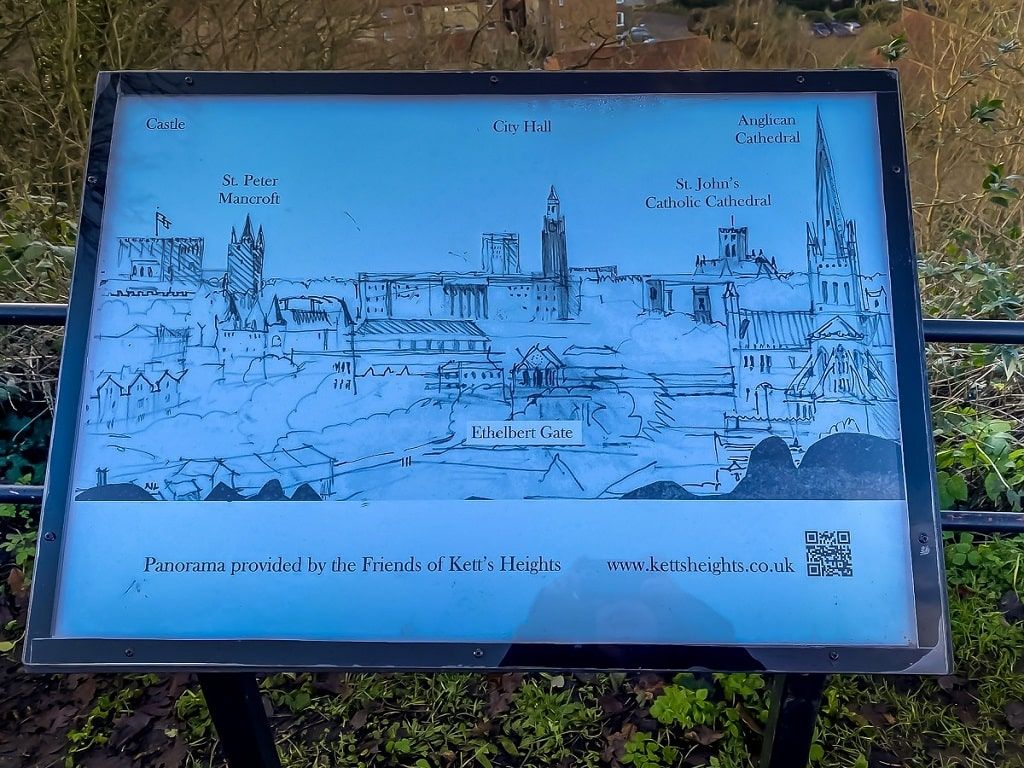 sign showing the landmarks that you can see from the viewpoint at Kett's Heights