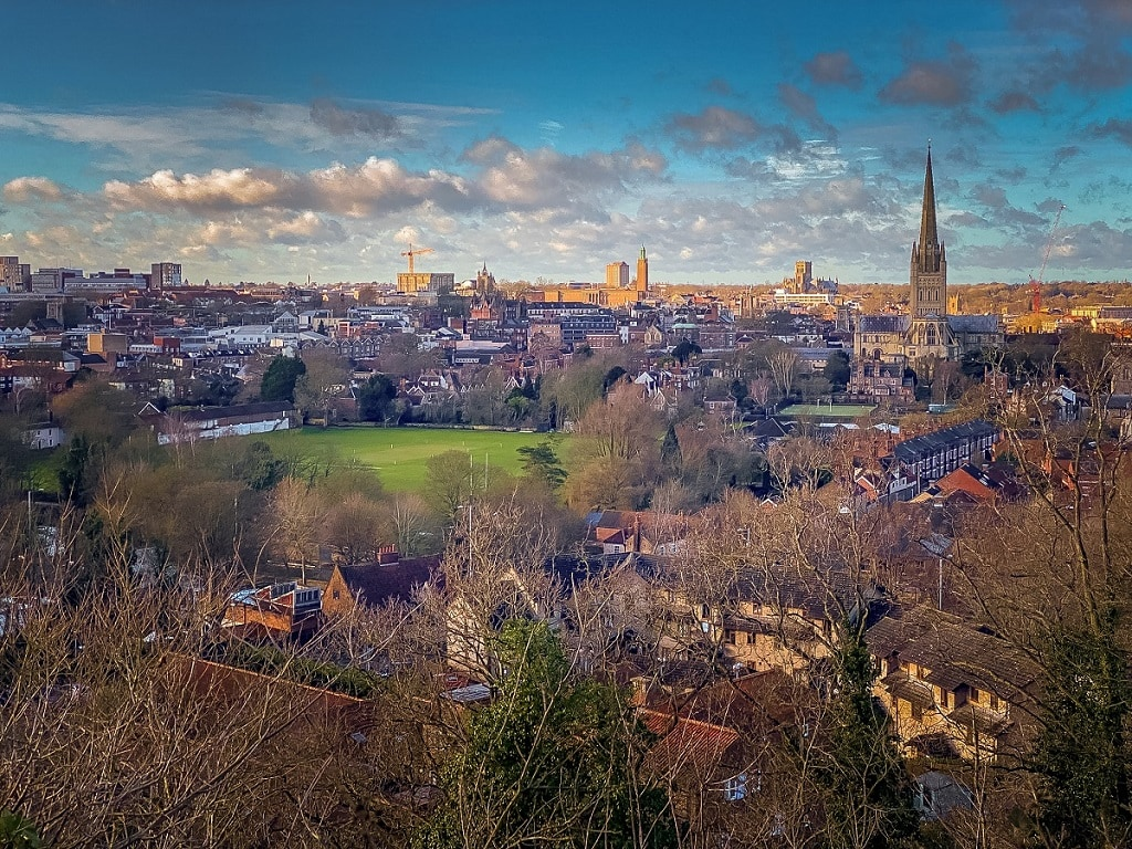 view from Kett's Heights of the city of Norwich