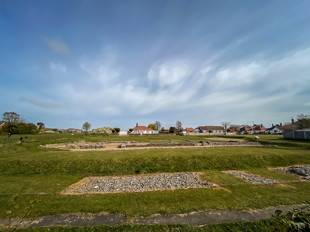 the view from the front of the Caister Roman site