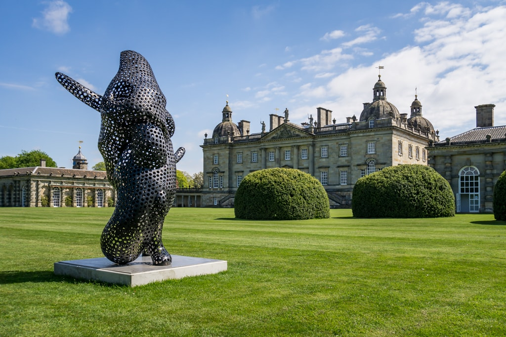 Ferryman by Tony Cragg with Houghton Hall in the background