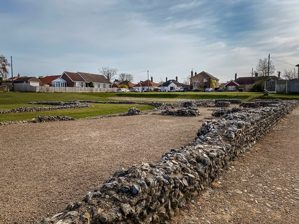 ruins of a wall at the fort by caister on sea