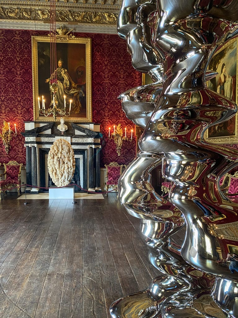red saloon at houghton hall with artwork by Tony Cragg