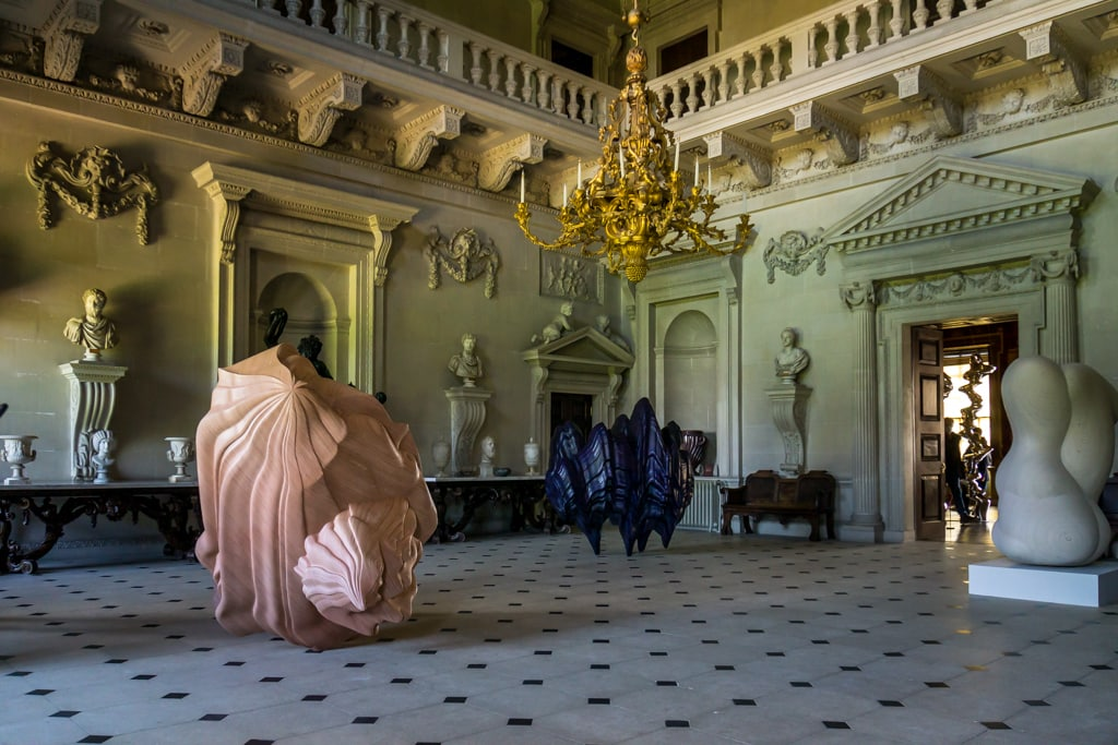 inside stone hall at houghton hall there were 3 sculptures by tony cragg