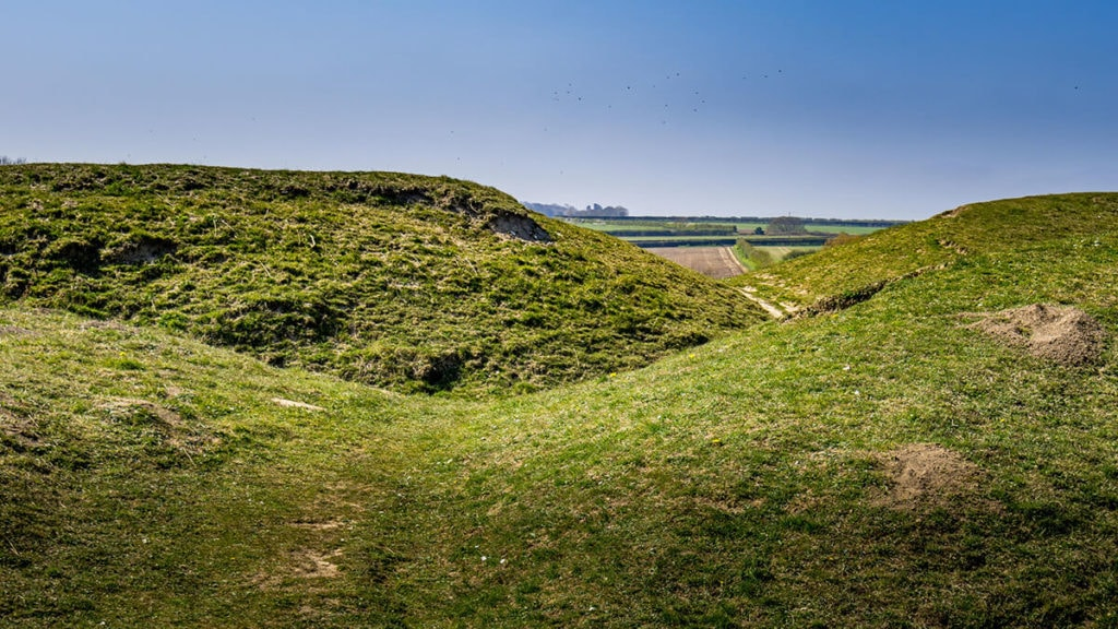 warham camp iron age hill fort in norfolk england