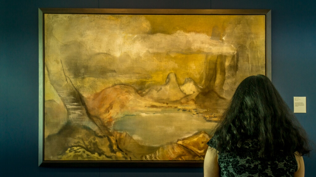 Anisa looking at one of Leiko Ikemura's paintings at the Sainsbury Centre special exhibit