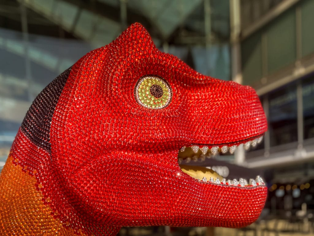 close up of the face of prideasaurus