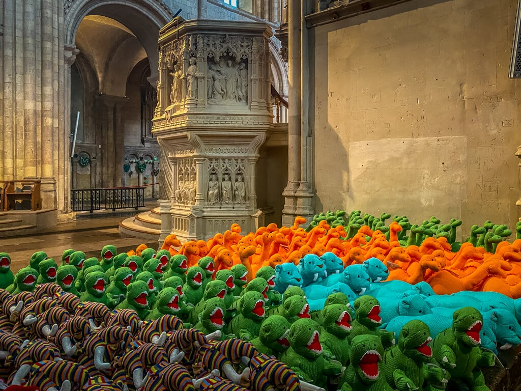 stuffed dinosaurs available for sale at the dino store inside norwich cathedral