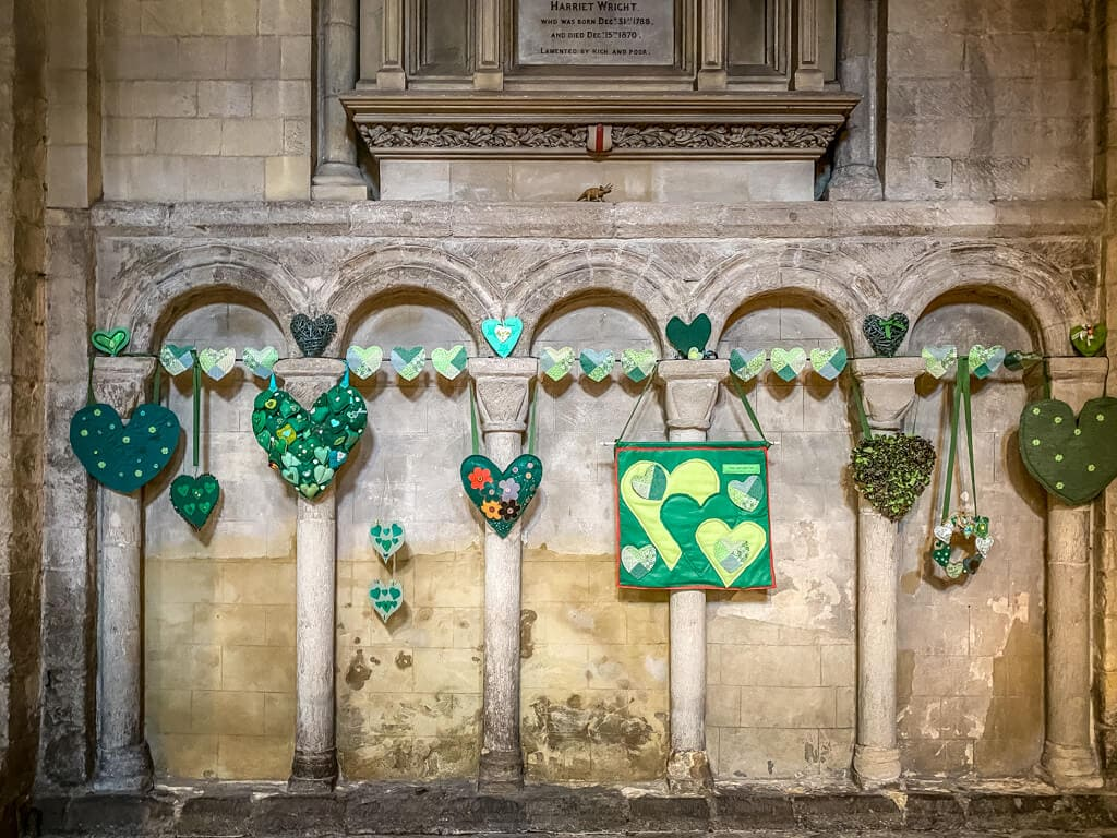 display of green hearts at norwich cathedral