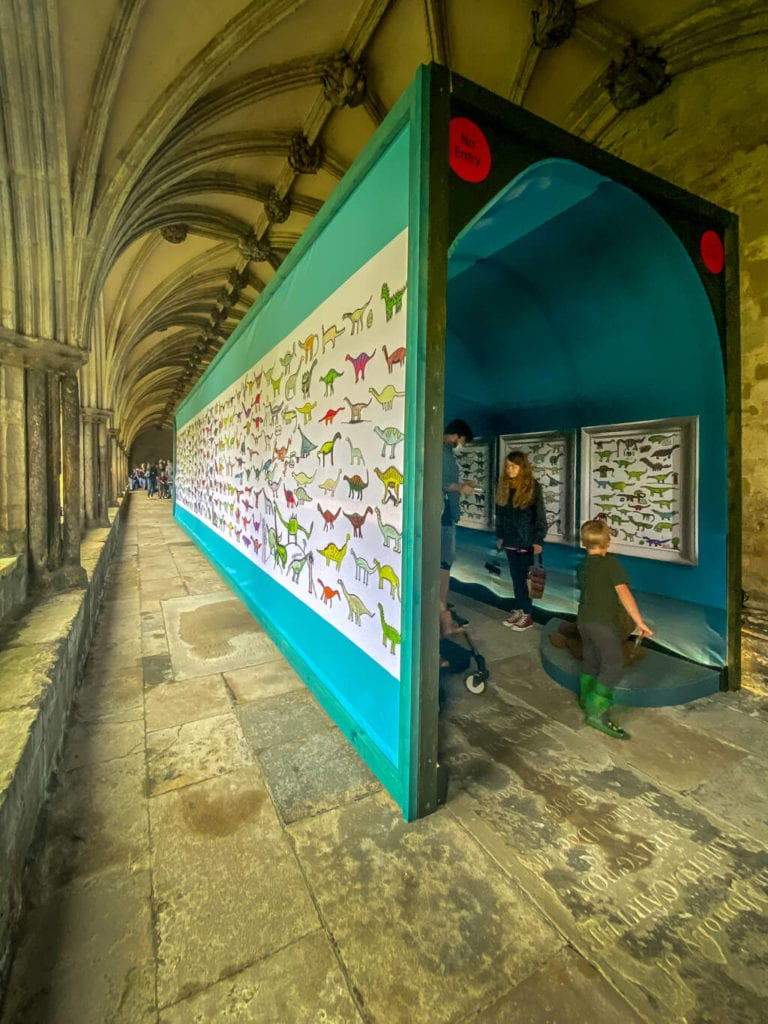 time tunnel that is part of dippy on tour at Norwich Cathedral
