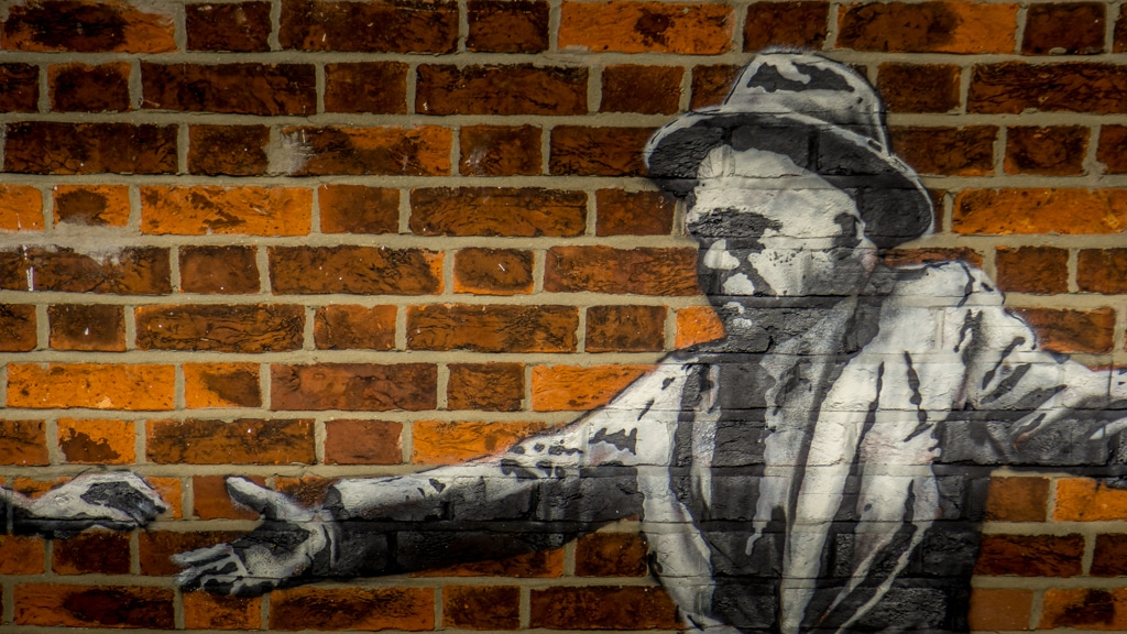 close up of banksy art in great yarmouth
