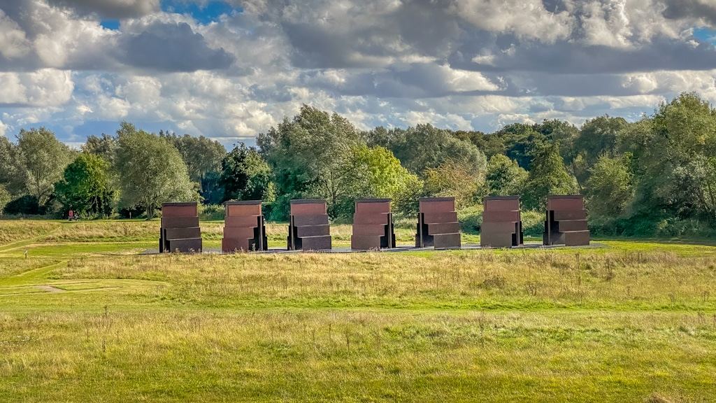 looking from the Sainsbury Centre towards the Goodwood steps by Anthony Caro